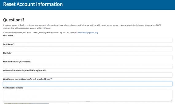 reset account information